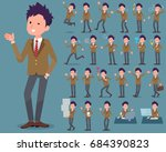 set of various poses of flat... | Shutterstock .eps vector #684390823