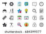 hairdresser icons. scissors cut ... | Shutterstock .eps vector #684399577