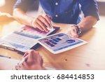 businessman show the data from... | Shutterstock . vector #684414853