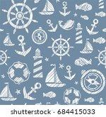 nautical background  seamless ... | Shutterstock .eps vector #684415033