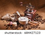 coffee still life with wooden... | Shutterstock . vector #684427123