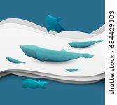 paper cut cartoon whale on... | Shutterstock .eps vector #684429103
