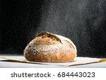 traditional round artisan rye... | Shutterstock . vector #684443023