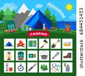 set of camping outdoor activity ... | Shutterstock .eps vector #684451453