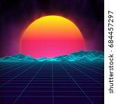 retro background futuristic... | Shutterstock .eps vector #684457297