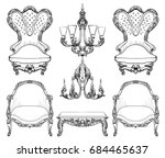 baroque furniture set with... | Shutterstock .eps vector #684465637