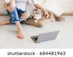 Stock photo cat with young woman have relax on cozy cushions with laptop in foreground charming family pet 684481963