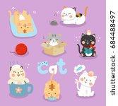 set illustration cute cat  | Shutterstock .eps vector #684488497