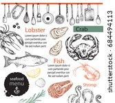 template card seafood menu hand ... | Shutterstock .eps vector #684494113