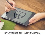 hands of woman using stylus pen ... | Shutterstock . vector #684508987