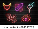 vector set of realistic... | Shutterstock .eps vector #684517327