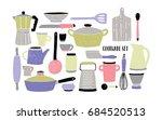cookware set on white...   Shutterstock .eps vector #684520513