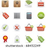 14 Shopping Icons Professional vector set for your website, application, or presentation. The graphics can easily be edited color individually and be scaled to any size - stock vector