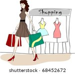 happy shopping with attractive... | Shutterstock .eps vector #68452672