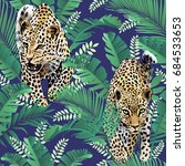 cheetah and leopards palm... | Shutterstock . vector #684533653