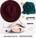 woman's accessories for autumn... | Shutterstock . vector #684546283