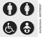 wc   toilet door icons | Shutterstock .eps vector #684558067