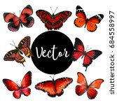 vector red butterflies... | Shutterstock .eps vector #684558997