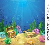 underwater landscape. the ocean ... | Shutterstock . vector #684563713