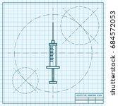 vector blueprint syringe icon... | Shutterstock .eps vector #684572053