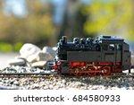 model steam locomotive in garden | Shutterstock . vector #684580933