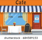 the cafe and the table.the... | Shutterstock .eps vector #684589153
