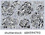 vector line art hand drawn... | Shutterstock .eps vector #684594793