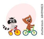 cute little raccoon and bear...   Shutterstock .eps vector #684594823