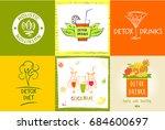 set of logo detox water drink ... | Shutterstock . vector #684600697