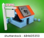 3d illustration of block house...   Shutterstock . vector #684605353