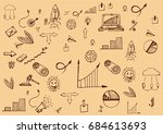 set of business icons sketch... | Shutterstock .eps vector #684613693