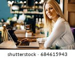 young blonde woman is doing... | Shutterstock . vector #684615943