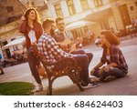 group of people hangout at the... | Shutterstock . vector #684624403