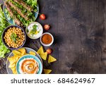 different middle eastern dishes ... | Shutterstock . vector #684624967