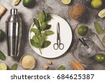 mojito cocktail ingredients on... | Shutterstock . vector #684625387