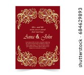 wedding card  invitation card... | Shutterstock .eps vector #684629893