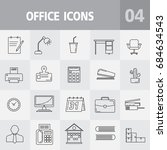 simple office icons set.... | Shutterstock .eps vector #684634543