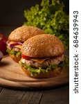 home made hamburger with beef ... | Shutterstock . vector #684639943