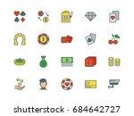 casino set of thin line flat... | Shutterstock .eps vector #684642727