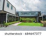 modern metal building made from ... | Shutterstock . vector #684647377