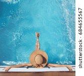 top view of woman in straw hat... | Shutterstock . vector #684655567