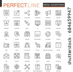 media advertising thin line web ... | Shutterstock . vector #684659947