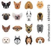 dog heads logo set. ... | Shutterstock . vector #684660973
