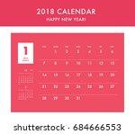 simple calendar layout for 2018 ... | Shutterstock .eps vector #684666553