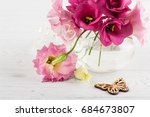pink red eustoma flowers and... | Shutterstock . vector #684673807