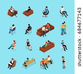sitting people isometric set of ... | Shutterstock .eps vector #684677143