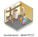 two plumbers at work fixing... | Shutterstock .eps vector #684679717