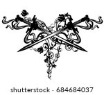 crossed swords among rose... | Shutterstock . vector #684684037