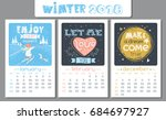 calendar design for 2018 year.... | Shutterstock .eps vector #684697927