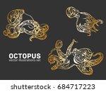 set of gold octopus. vector... | Shutterstock .eps vector #684717223